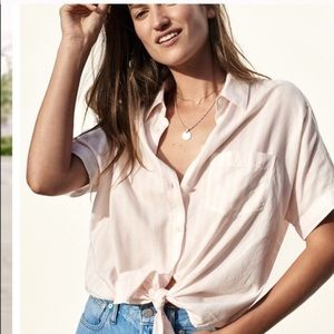 Madewell Striped Tie Front Button Down Blouse